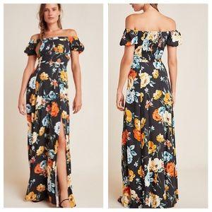 Yumi Kim Floral Off the Shoulder Maxi Dress Sz LP
